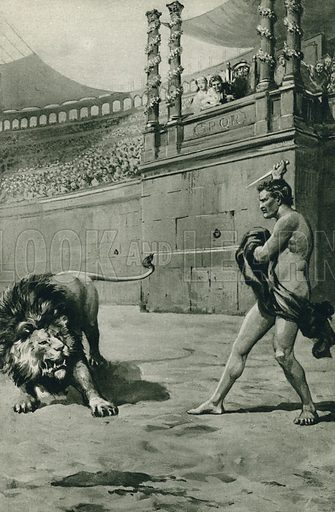One summer's day in Sweet Provence, the terrible moment the Romans yearned to see, with Caesar looking down in Arles Arena. Illustration for Arthur Mee's Golden Year (Hodder and Stoughton, c 1922).