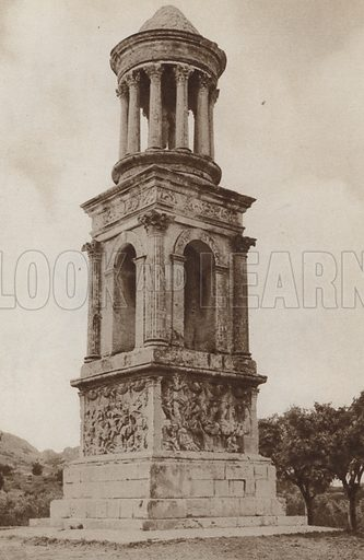 The beautiful tower that Julius Caesar built, still standing on a little green in a country lane at Saint Remy. Illustration for Arthur Mee's Golden Year (Hodder and Stoughton, c 1922).