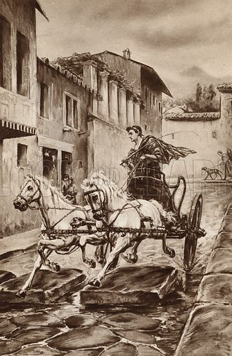 The life of a street in Pompeii in the great days before the city disappeared. Illustration for Arthur Mee's Golden Year (Hodder and Stoughton, c 1922).