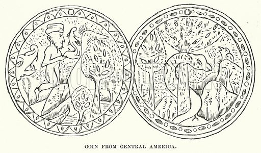 Coin from Central America. Illustration for Atlantis, The Antidiluvian World by Ignatius Donnelly (Harper, c 1898).