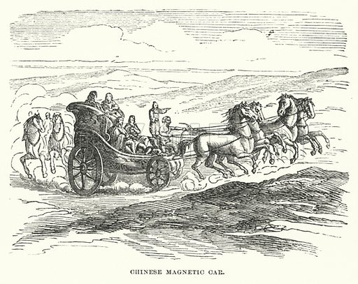 Chinese magnetic car. Illustration for Atlantis, The Antidiluvian World by Ignatius Donnelly (Harper, c 1898).