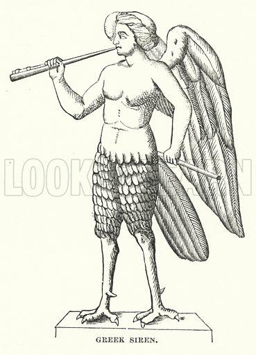 Greek Siren. Illustration for Atlantis, The Antidiluvian World by Ignatius Donnelly (Harper, c 1898).