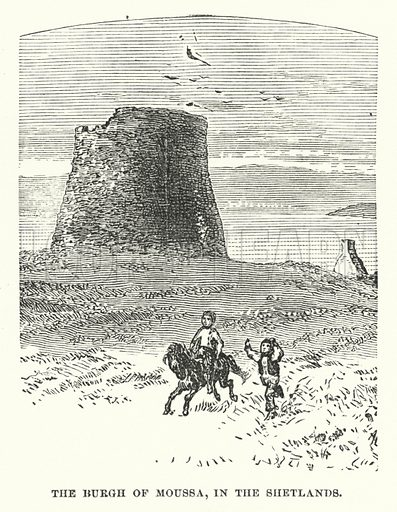 The Burgh of Moussa, in the Shetlands. Illustration for Atlantis, The Antidiluvian World by Ignatius Donnelly (Harper, c 1898).