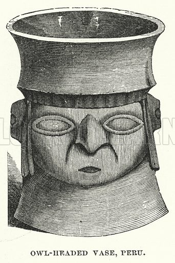 Owl-headed vase, Peru. Illustration for Atlantis, The Antidiluvian World by Ignatius Donnelly (Harper, c 1898).