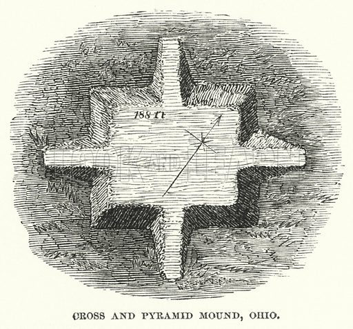 Cross and Pyramid Mound, Ohio. Illustration for Atlantis, The Antidiluvian World by Ignatius Donnelly (Harper, c 1898).