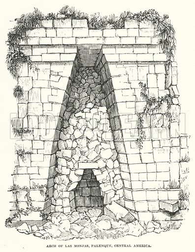 Arch of Las Monjas, Palenque, Central America. Illustration for Atlantis, The Antidiluvian World by Ignatius Donnelly (Harper, c 1898).