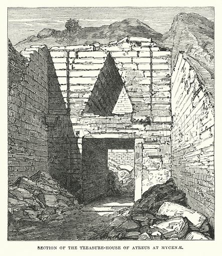 Section of the treasure-house of Atreus at Mycenae. Illustration for Atlantis, The Antidiluvian World by Ignatius Donnelly (Harper, c 1898).