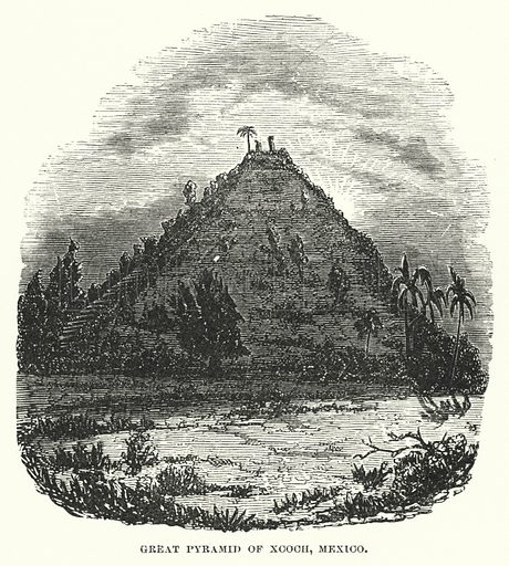 Great pyramid of Xcoch, Mexico. Illustration for Atlantis, The Antidiluvian World by Ignatius Donnelly (Harper, c 1898).