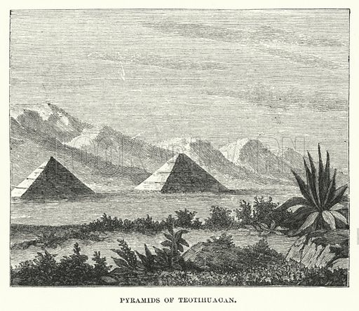 Pyramids of Teotihuacan. Illustration for Atlantis, The Antidiluvian World by Ignatius Donnelly (Harper, c 1898).