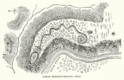 Great Serpent-Mound, Ohio. Illustration for Atlantis, The Antidiluvian World by Ignatius Donnelly (Harper, c 1898).