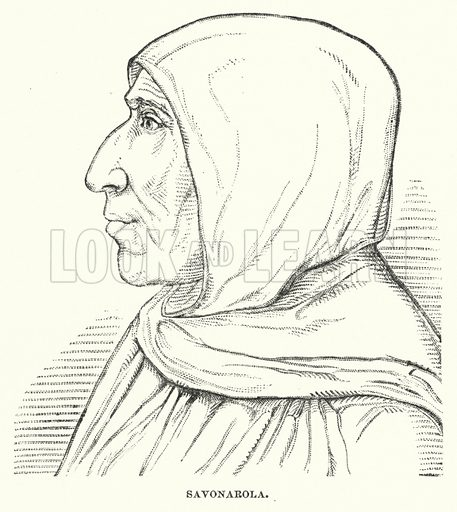 Savonarola. Illustration for Atlantis, The Antidiluvian World by Ignatius Donnelly (Harper, c 1898).
