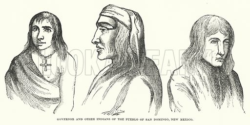 Governor and other Indians of the Pueblo of San Domingo, New Mexico. Illustration for Atlantis, The Antidiluvian World by Ignatius Donnelly (Harper, c 1898).
