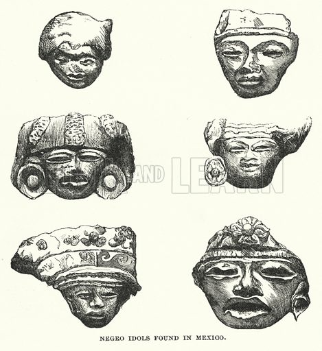 Negro idols found in Mexico. Illustration for Atlantis, The Antidiluvian World by Ignatius Donnelly (Harper, c 1898).
