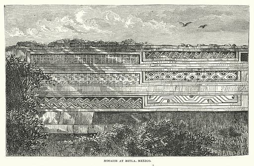 Mosaics at Mitla, Mexico. Illustration for Atlantis, The Antidiluvian World by Ignatius Donnelly (Harper, c 1898).
