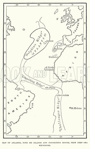 Map of Atlantis, with its islands and connecting ridges, from deep sea soundings. Illustration for Atlantis, The Antidiluvian World by Ignatius Donnelly (Harper, c 1898).