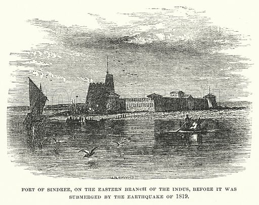 Fort of Sindree, on the eastern branch of the Indus, before it was submerged by the earthquake of 1819. Illustration for Atlantis, The Antidiluvian World by Ignatius Donnelly (Harper, c 1898).
