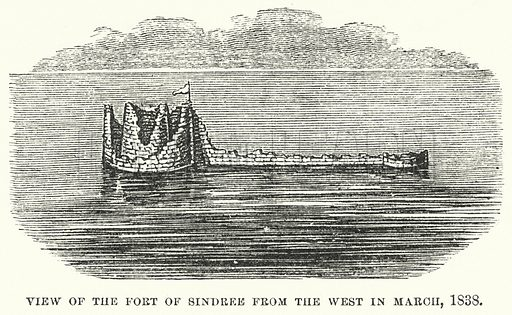 View of the Fort of Sindree from the west in March 1838. Illustration for Atlantis, The Antidiluvian World by Ignatius Donnelly (Harper, c 1898).