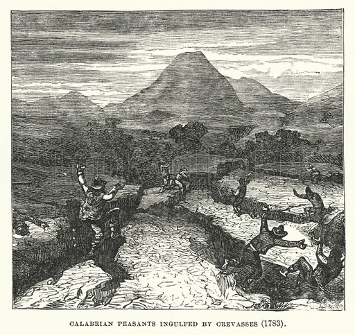 Calabrian peasants ingulfed by crevasses, 1783. Illustration for Atlantis, The Antidiluvian World by Ignatius Donnelly (Harper, c 1898).