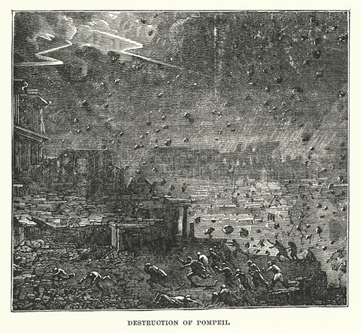 Destruction of Pompeii. Illustration for Atlantis, The Antidiluvian World by Ignatius Donnelly (Harper, c 1898).