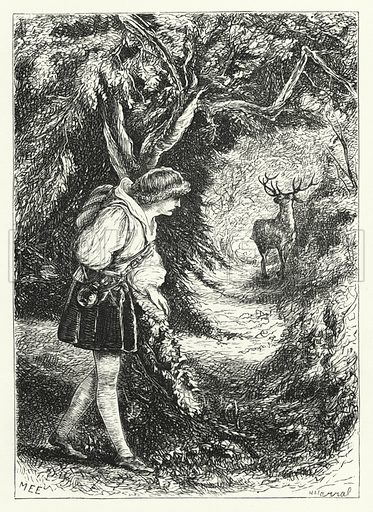 Prince Loroio and the deer. Illustration for Aunt Judy's Magazine, 1866.