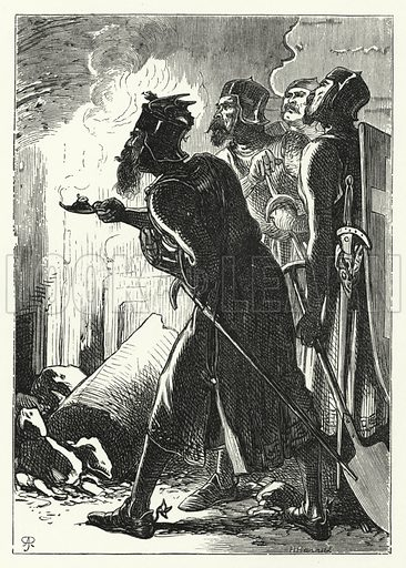 The knights of St John discovering the tomb of Mausolus. Illustration for Aunt Judy's Magazine, 1866.