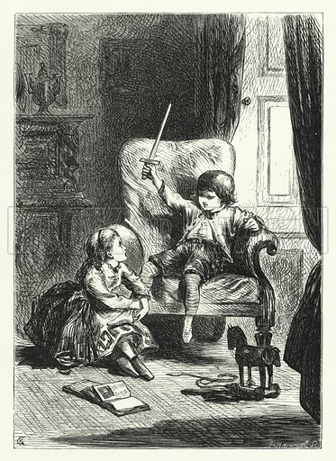 Her little hand stroked tenderly the leg of flesh and blood. Illustration for Aunt Judy's Magazine, 1866.