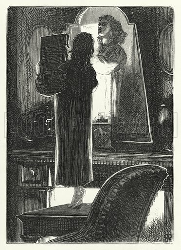 Mary trying to look at her profile. Illustration for Aunt Judy's Magazine, 1866.
