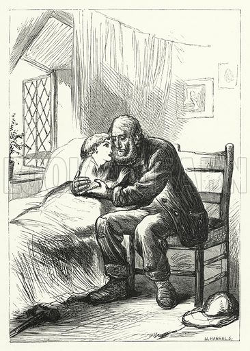 Daddy, don't lose heart again. Illustration for Aunt Judy's Magazine, 1866.