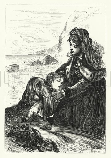 He brings it thee, oh, mother! his burthen pretty and pale. Illustration for Aunt Judy's Magazine, 1866.