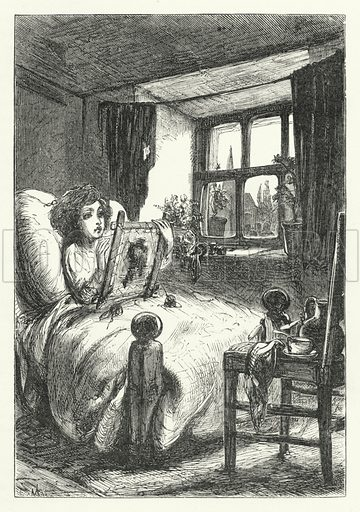The little sick child at his worsted-work. Illustration for Aunt Judy's Magazine, 1866.