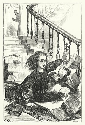 Kathleen, with her grammars and dictionaries, tumbling down-stairs. Illustration for Aunt Judy's Magazine, 1866.