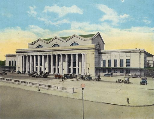 New Union Terminal Building, Jacksonville, Florida. Illustration for Beautiful Florida, The Winter Playground of the Nation (Curt Teich, c 1920).