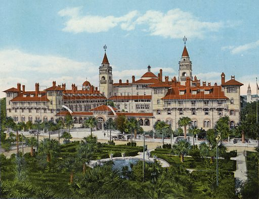 Hotel Ponce de Leon, St Augustine, Florida. Illustration for Beautiful Florida, The Winter Playground of the Nation (Curt Teich, c 1920).