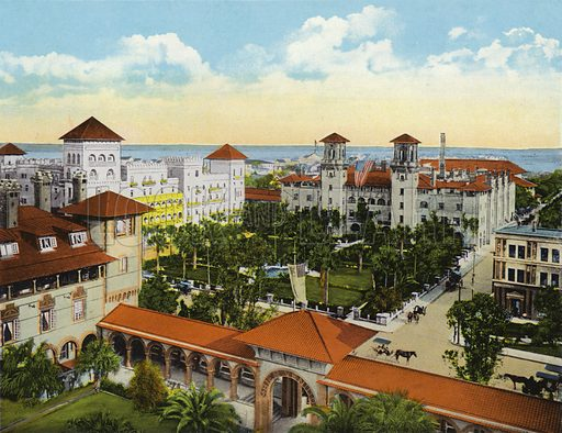 Bird's Eye View of Alcazar and Cordova Hotels from the Ponce de Leon, St Augustine, Florida. Illustration for Beautiful Florida, The Winter Playground of the Nation (Curt Teich, c 1920).