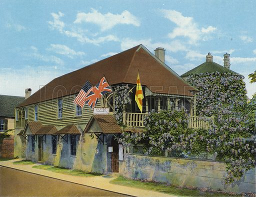 Oldest House in the US, St Francis Street, St Augustine, Florida. Illustration for Beautiful Florida, The Winter Playground of the Nation (Curt Teich, c 1920).