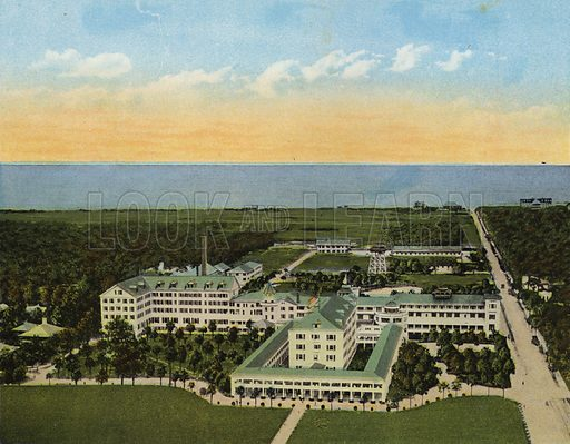 View from Hydro-Aeroplane, showing Golf Course and Ocean, Hotel Ormond, Ormond Beach, Florida. Illustration for Beautiful Florida, The Winter Playground of the Nation (Curt Teich, c 1920).
