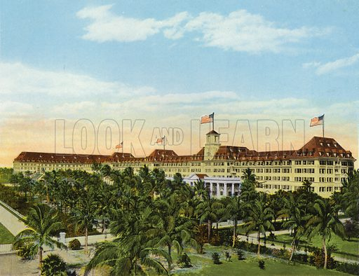 Front View of Royal Poinciana Hotel and Grounds, Palm Beach, Florida. Illustration for Beautiful Florida, The Winter Playground of the Nation (Curt Teich, c 1920).