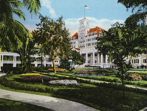 The Gardens, Royal Poinciana, Palm Beach, Florida. Illustration for Beautiful Florida, The Winter Playground of the Nation (Curt Teich, c 1920).