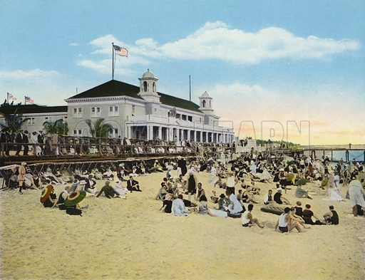 Bathing Beach and Casino, Palm Beach, Florida. Illustration for Beautiful Florida, The Winter Playground of the Nation (Curt Teich, c 1920).