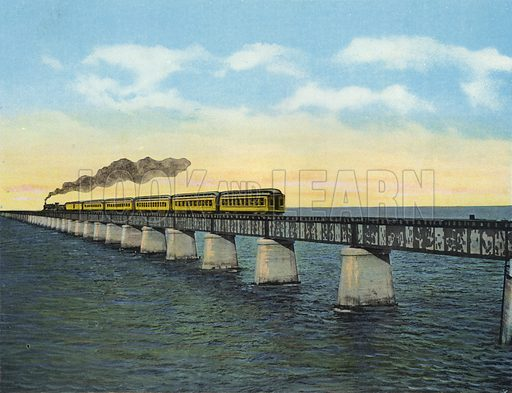 Florida East Coast Railway, Train crossing Moser Channel, Key West Extension, Florida. Illustration for Beautiful Florida, The Winter Playground of the Nation (Curt Teich, c 1920).