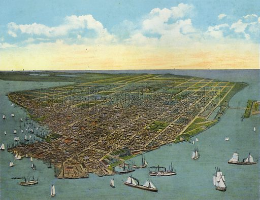 Bird's Eye View, Key West, Florida. Illustration for Beautiful Florida, The Winter Playground of the Nation (Curt Teich, c 1920).
