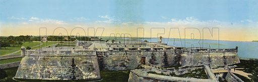 Fort Marion, St Augustine, Florida. Illustration for Beautiful Florida, The Winter Playground of the Nation (Curt Teich, c 1920).