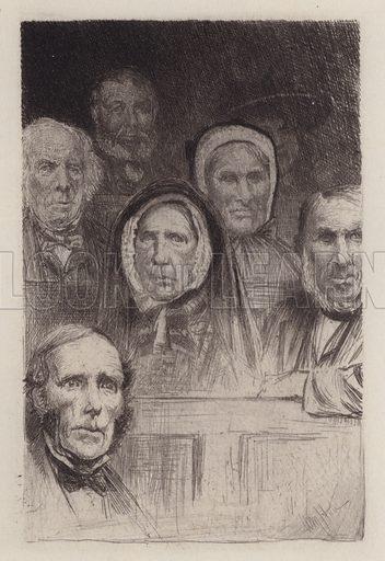 Sermon Tasters. Illustration for Beside the Bonnie Brier Bush by Ian Maclaren (Hodder and Stoughton, c 1896).