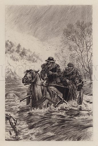 Through the Flood. Illustration for Beside the Bonnie Brier Bush by Ian Maclaren (Hodder and Stoughton, c 1896).