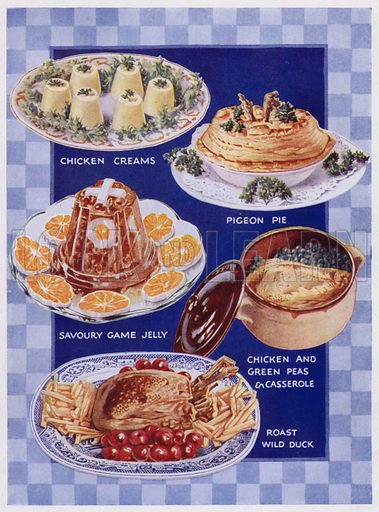 """Illustration for the """"Bestway"""" Cookery Gift Book (3rd book, c 1930)."""