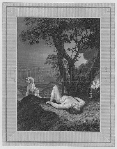 The Death of Abel, Genesis, IV, 6, etc. Illustration for unidentified volume of Bible illustrations, c 1835.