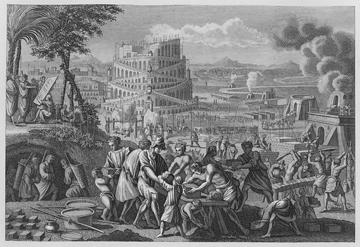 Building of the Tower of Babel, Genesis, XI. Illustration for unidentified volume of Bible illustrations, c 1835.