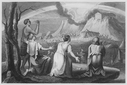 God's Covenant with Noah and His Sons, Genesis, IX, 9, etc. Illustration for unidentified volume of Bible illustrations, c 1835.
