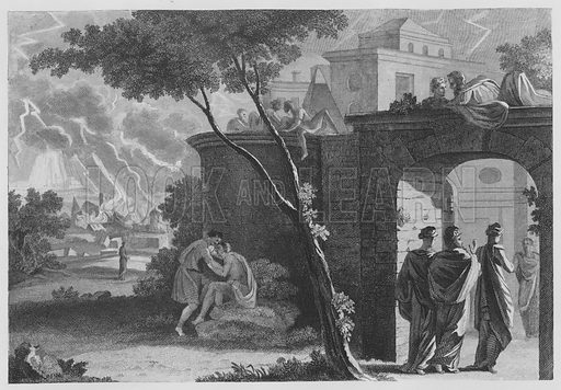 Lot's Entrance into Zoar and the Destruction of Sodom, Genesis, XLX, 23, 24. Illustration for unidentified volume of Bible illustrations, c 1835.