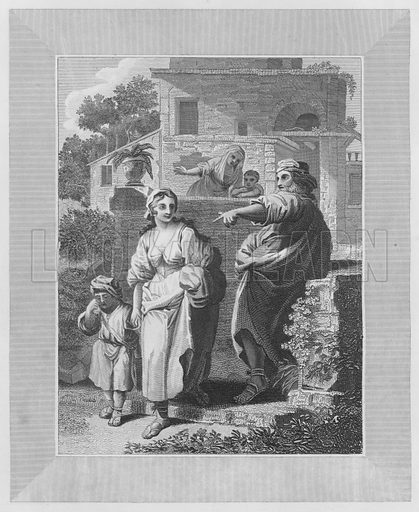 Abraham Giving Up Hagar, Genesis, XXI, 14. Illustration for unidentified volume of Bible illustrations, c 1835.